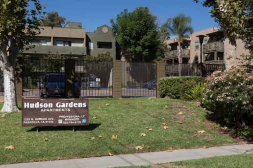 Hudson Gardens Apartments sign 1255 N Hudson Ave, Pasadena CA 91104, 626-794-9179